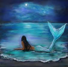 mermaid moon and stars star painting mermaid and moon