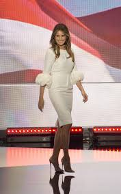 melania continues her tour wearing a dress