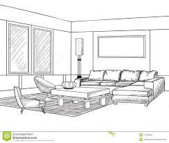 sketch room living room living room interior outline sketch furniture