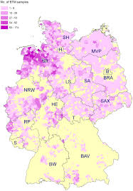 Bavaria Germany Map by Map Of Germany Illustrating The Number Of Examined Btm Samples Per