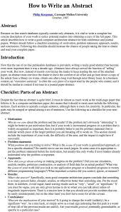 thesis abstract tips how to write an abstract by philip koopman carnegie mellon