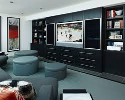 grey carpet and black wooden creative dvd storage ideas for modern