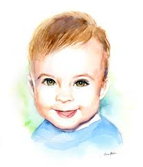 baby portraits soo artist painter illustrator watercolor baby portraits