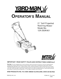 mtd lawn mower 12a 559k401 user guide manualsonline com