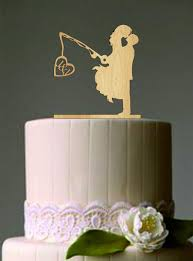 fishing wedding cake toppers unique wedding cake topper wedding fishing pole heart
