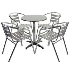 Aluminium Bistro Table And Chairs Marko Outdoor Garden Furniture Aluminium 4 Armchair Table 60cm