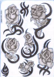 Tribal Tattoos With Roses - tribal roses flash by inkie on deviantart