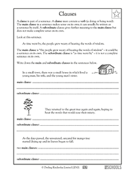 3rd grade 4th grade writing worksheets clauses parts of a