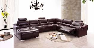 living room leather sectional couch sofa with recliner
