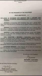 advisory special non working holidays on dec 26 jan 2 manila