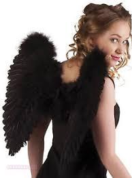 halloween black feather wings large angel fairy fallen dark fancy