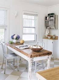 White Farmhouse Kitchen Table by Modern Metal Chairs U0026 Vintage Galvanized Plate Rack Are Paired