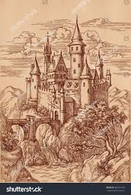 ink pen drawing medieval castle mountains stock illustration