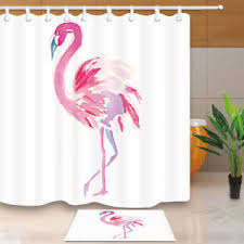 Flamingo Shower Curtains Pink Watercolor Flamingo Shower Curtain Set Waterproof Fabric 12