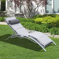 outsunny adjustable patio reclining outdoor chaise lounge chair