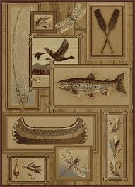 Rustic Outdoor Rugs Trout Fishing Novelty Pattern Lodge Area Rug Rustic Outdoor