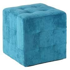 designs ideas cubical blue tufted ottoman footstool cozy