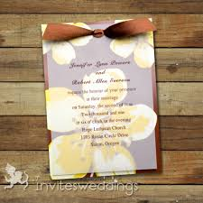 Wedding Invitations With Ribbon Yellow Flowers Ribbon Layered Wedding Invites Iwfc034 Wedding
