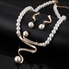 pearl bracelet set images Simulated white pearl jewelry set for women for wedding bridal jpeg