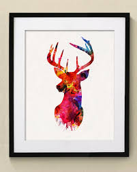 colorful deer watercolor painting wall art wall decor art home