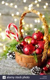 christmas basket christmas basket with vintage gifts and shining lights balls