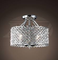 chrome and 4 light round ceiling flush mount chandelier