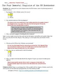 Four Worksheet War 2 Worksheet The Four Chaplains Of The Ss Dorchester Tpt