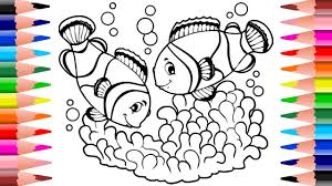 fish coloring draw color clown fish childrens