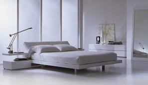 Modern Platform Bed High Gloss Lacquer White With Leather - White leather contemporary bedroom furniture