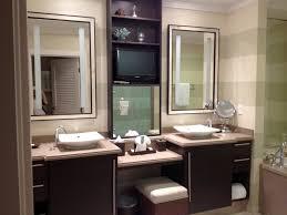 modern double bathroom vanities with narrow makeup area in center