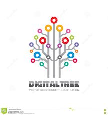 digital tree vector logo sign template concept illustration in