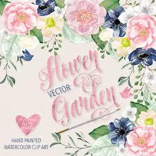 watercolor flower garden clipart watercolor flower pink navy