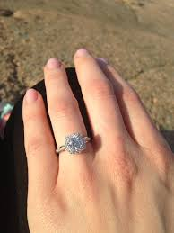 ring engaged just engaged diamond in square halo setting engagement