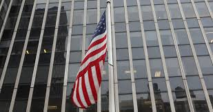 Hd American Flag Ultra Hd 4k American Flag Flying Front Of Steel Glass Corporate