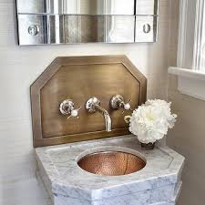 Hammered Copper Bathroom Sink Copper Hammered Sink With Blue Agate Wallpaper Contemporary