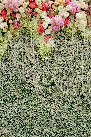 wedding backdrop green colorful flowers with green wall for wedding backdrop stock image