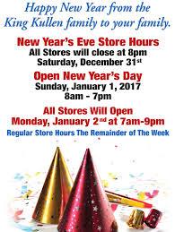 new year s store hours king kullen