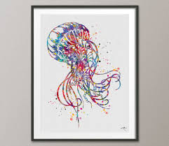 Jellyfish Home Decor by Jellyfish Watercolor Painting Print Art Print Jellyfish Poster