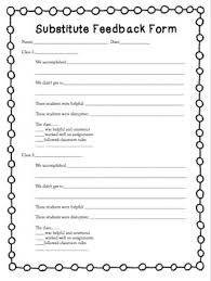 substitute feedback form elementary music behavior management