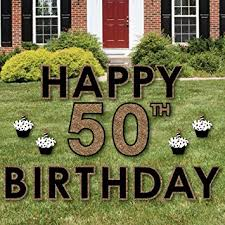 50th birthday gold yard sign outdoor lawn