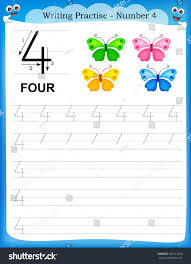 writing practice number four printable worksheet stock vector