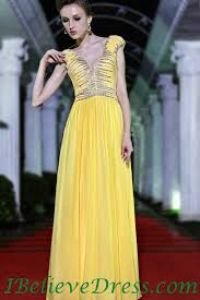 chiffon yellow long evening dress full length designs for sale