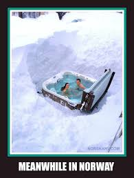 Funny Snow Memes - meanwhile in norway meme spa ouside in the deep snow norwegian