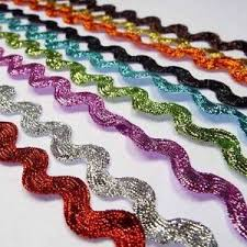 ric rac ribbon 14mm lurex ric rac metallic shiny glitter braid ribbon costume