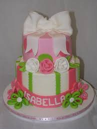pink and lime green baby shower cake cakecentral com