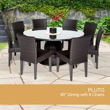 outdoor patio table seats 10 pluto 60 inch outdoor patio dining table with 8 chairs