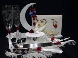 spiderman wedding cake topper lot glasses knife server garter