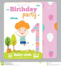 Birthday Invitation Card Template Free Download Birthday Party Invitation Card Template With Cute Stock Vector
