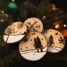 wood burned log slices christmas tree decoration by alibongoart