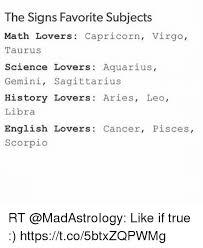 Funny Virgo Memes - the signs favorite subjects math lovers capricorn virgo tauruss